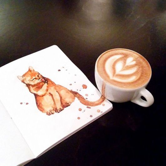 Creative Russian Artist Uses Coffee To Draw Adorable Cat Artworks