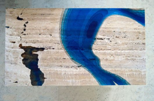 Marble Tables Resembling Blue Lagoons