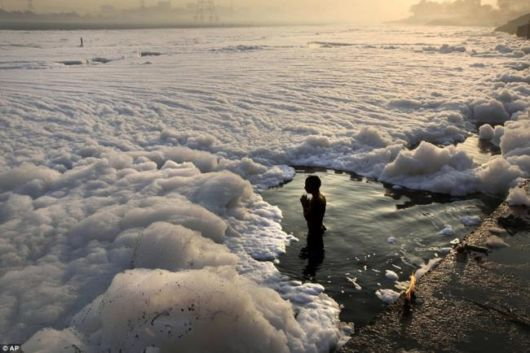 Polluted Yamuna River Becomes A Sea Of Foam